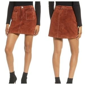 BlankNYC Suede Leather High Rise Mini Skirt